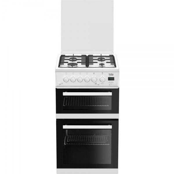 Beko EDG506W 50cm Twin Cavity Gas Cooker with Glass Lid