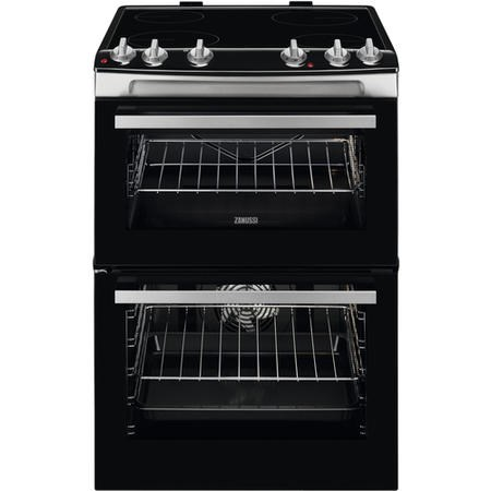 Zanussi ZCV66078XA 60cm Electric Double Oven with Ceramic Hob  Stainless Steel
