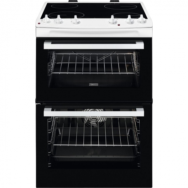 Zanussi ZCV66050WA 60cm Electric Double Oven with Ceramic Hob